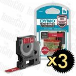 Genuine 3 x Dymo SD1978366 (12mm x 3m) White On Red D1 Durable Label Tape