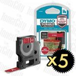Genuine 5 x Dymo SD1978366 (12mm x 3m) White On Red D1 Durable Label Tape