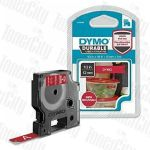 Genuine Dymo SD1978366 (12mm x 3m) White On Red D1 Durable Label Tape