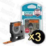 Genuine 3x Dymo SD1978367 (12mm x 3m) Black On Orange D1 Durable Label Tape