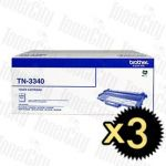 Brother TN-3340 3 Pack Genuine Toner Cartridge