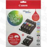 Canon PGI-525 + CLI-526 (6 Pack) Genuine Inkjet Cartridge Value Pack CI526PLUS