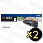 Brother TN-341BK Black 2 Pack Genuine Toner Cartridge