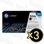 HP 504X (CE250X) Black High Yield 3 Pack Genuine Toner Cartridge