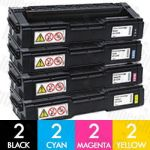 Ricoh 406483-406486 8 Pack Compatible Toner Cartridge Combo