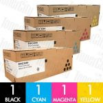 Ricoh 406483-406486 4 Pack Genuine Toner Cartridge Combo
