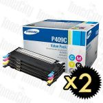 2 x Samsung CLT-P409C Value Pack Genuine Toner Cartridge Combo SU396A