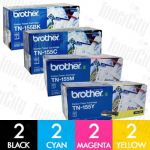 Brother TN-155 High Yield 8 Pack Genuine Toner Cartirdge Combo