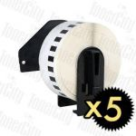 5 x Brother DK-22214 (12mm x 30.48m) White Compatible Label Roll