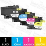 Brother LC-3333 High Yield 4 Pack Compatible Inkjet Cartridge Combo