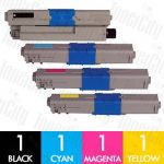 Compatible OKI 44973545-44973548 (C301/C321) 4 Pack Toner Cartridge Combo