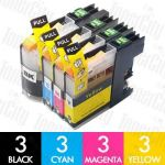 Compatible Brother LC-137XL + LC-135XL High Yield 12 Pack Inkjet Cartridge Combo