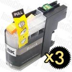 Brother LC-233BK Black 3 Pack Compatible Inkjet Cartridge