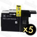 Brother LC-73/LC-77XLBK Black High Yield 5 Pack Compatible Inkjet Cartridge