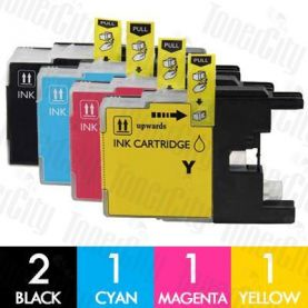 Brother LC-73/LC-77XL High Yield 5 Pack Compatible Inkjet Cartridge Combo