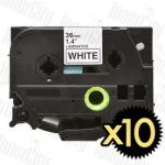 10 x Brother TZe-261 (36mm) Black Text on White Compatible Tape