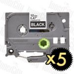 5 x Brother TZe-335 (12mm) White Text on Black Compatible Tape