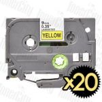 20 x Brother TZe-621 (9mm) Black Text on Yellow Compatible Tape