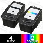 Compatible Canon PG-645XL + CL-646XL High Yield (6 Pack) Inkjet Cartridge Combo