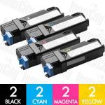 Dell 59210500-503 (2130CN/2135CN) High Yield 8 Pack Compatible Toner Cartridge Combo