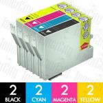 Epson T0751-T0754 8 Pack Compatible Inkjet Cartridge Combo