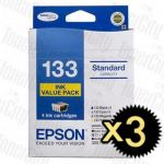 3 x Epson 133 (C13T133692) Value Pack Genuine Inkjet Cartridge