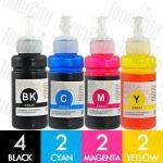 Epson T664 (C13T664192 - C13T664492) 10 Pack Compatible EcoTank Ink Bottles Combo