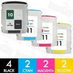 HP 10 + 11 (C4844A + C4836A-C4838A) 10 Pack Compatible Inkjet Cartridge Combo