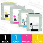 HP 18 (C4936A-C4939A) 4 Pack Compatible Inkjet Cartridge Combo