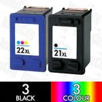 HP 21XL Black (C9351CA) + 22XL Colour (C9352CA) High Yield 6 Pack Compatible Inkjet Cartridge Combo