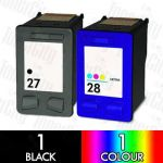 HP 27 Black (C8727AA) + 28 Colour (C8728AA) 2 Pack Compatible Inkjet Cartridge Combo