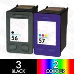 HP 56 Black (C6656AA) + 57 Colour (C6657AA) 5 Pack Compatible Inkjet Cartridge Combo