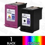 HP 60XL Black (CC641WA) + Colour (CC644WA) High Yield 2 Pack Compatible Inkjet Cartridge Combo
