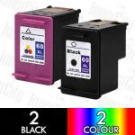 HP 60XL Black (CC641WA) + Colour (CC644WA) High Yield 4 Pack Compatible Inkjet Cartridge Combo