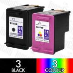 HP 61XL Black (CH563WA) + Colour (CH564WA) High Yield 6 Pack Compatible Inkjet Cartridge Combo