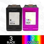 HP 901XL Black (CC654AA) + 901 Colour (CC656AA) 5 Pack Compatible Inkjet Cartridge Combo