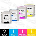 HP 940XL (C4906AA-C4909AA) High Yield 5 Pack Compatible Inkjet Cartridge Combo