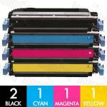 HP 642A (CB400A-CB403A) 5 Pack Compatible Toner Cartridge Combo