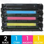 HP 125A (CB540A-CB543A) 5 Pack Compatible Toner Cartridge Combo