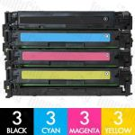 HP 125A (CB540A-CB543A) 12 Pack Compatible Toner Cartridge Combo