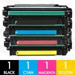 HP 504X + 504A (CE250X + CE251A-CE253A) 4 Pack Compatible Toner Cartridge Combo