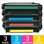 HP 504X + 504A (CE250X + CE251A-CE253A) 12 Pack Compatible Toner Cartridge Combo