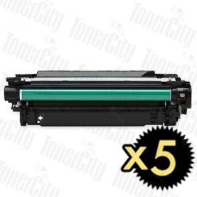 HP 504X (CE250X) Black High Yield 5 Pack Compatible Toner Cartridge