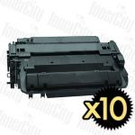 HP 55X (CE255X) Black High Yield 10 Pack Compatible Toner Cartridge