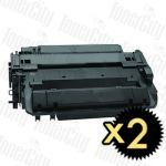 HP 55X (CE255X) Black High Yield 2 Pack Compatible Toner Cartridge