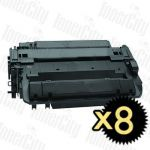 HP 55X (CE255X) Black High Yield 8 Pack Compatible Toner Cartridge
