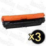 HP 650A (CE270A) Black 3 Pack Compatible Toner Cartridge