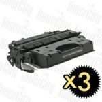 HP 05X (CE505X) Black High Yield 3 Pack Compatible Toner Cartridge