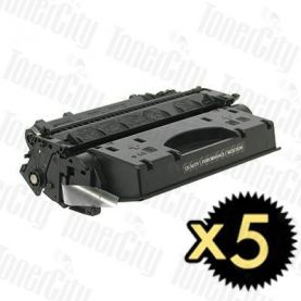 HP 05X (CE505X) Black High Yield 5 Pack Compatible Toner Cartridge