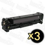 HP 312X (CF380X) Black High Yield 3 Pack Compatible Toner Cartridge